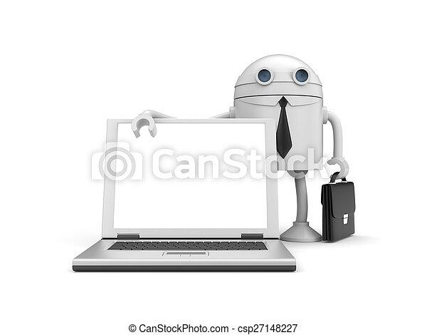 Robot businessman with computer - csp27148227
