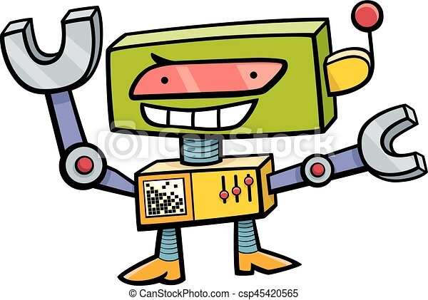 robot cartoon character cartoon illustration of funny robot science rh canstockphoto com science fiction clipart free