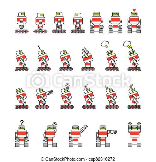 Robot cartoon, simple drawing, in various positions - csp82316272