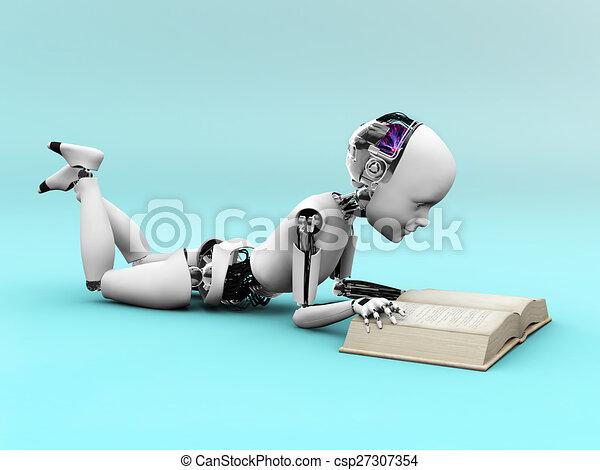 Robot child reading a book. - csp27307354
