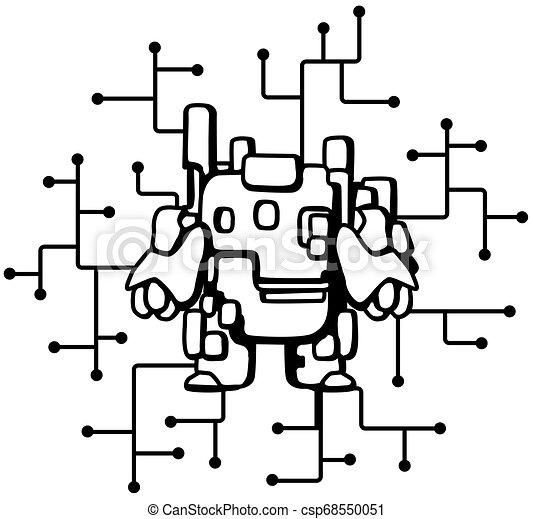 Robot Circuits Cartoon Line Drawing - csp68550051
