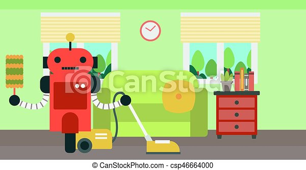 Robot cleaning carpet with vacuum cleaner
