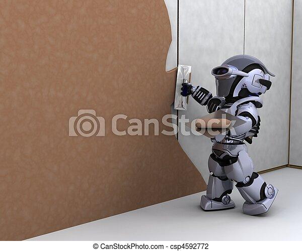robot contractor building a drywall - csp4592772