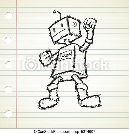 robot doodle - csp15374907