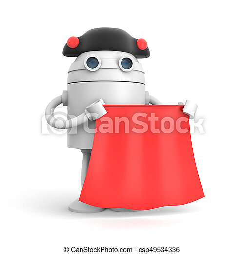 Robot dressed as matador on a white background. 3d illustration - csp49534336