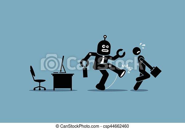 Robot employee kicks away a human worker from doing his computer job at office. - csp44662460