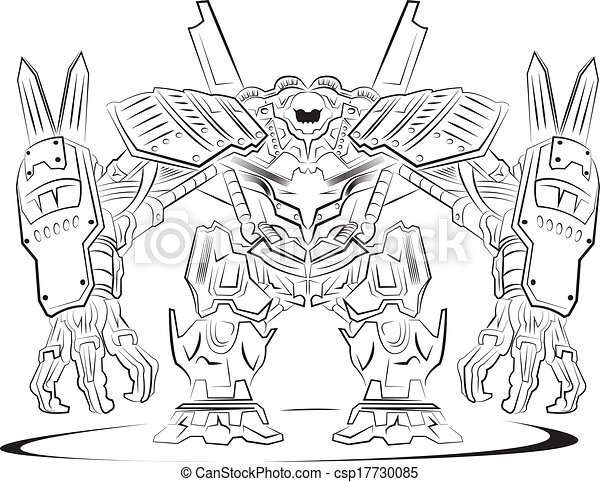 Robot Outlines Of A Modern Fighter Robot