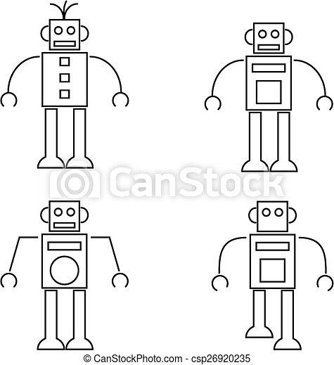 Neobvykly Ikona Jednoduchy Robot Ilustrace Skica