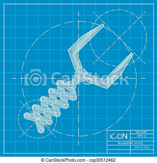 Vector blueprint robot hand icon on engineer or architect clip robot hand icon csp30512462 malvernweather Images