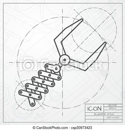 Vector classic blueprint of robot hand icon on engineer and robot hand icon csp30973423 malvernweather Gallery