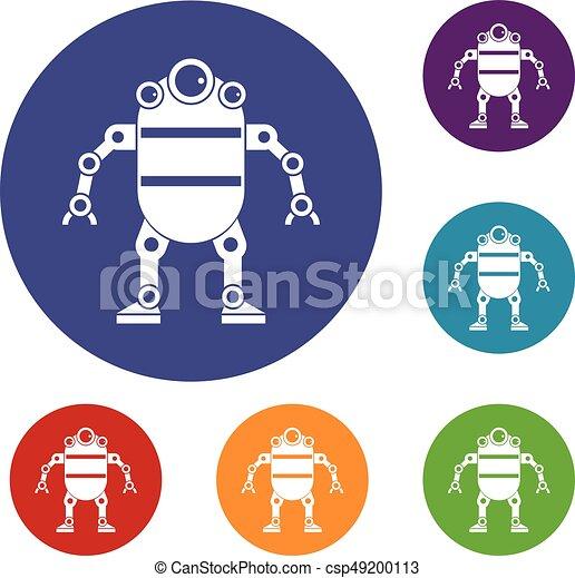 robot icons set vector clip art csp
