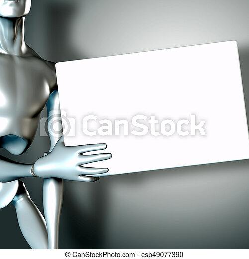robot, illustratie, meldingsbord, vasthouden, leeg, 3d - csp49077390
