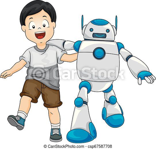 Robot Kid Boy Friends Illustration Illustration Of A Kid Boy Walking With A Robot Friend Canstock