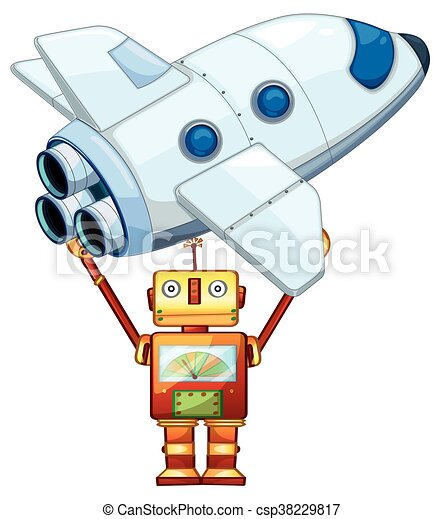 robot lifting up spaceship illustration vector clip art search rh canstockphoto com spaceship clipart pictures spaceship clipart free