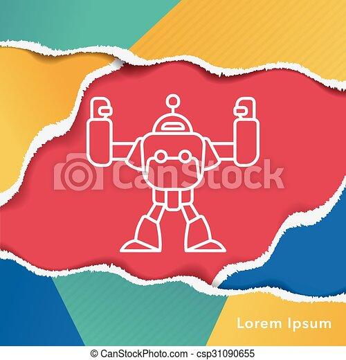 robot line icon - csp31090655