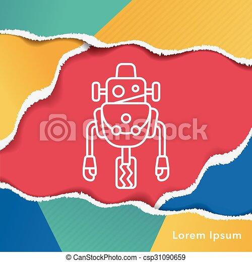 robot line icon - csp31090659