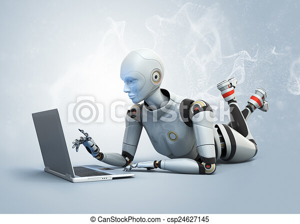 Robot lying on floor and using laptop - csp24627145