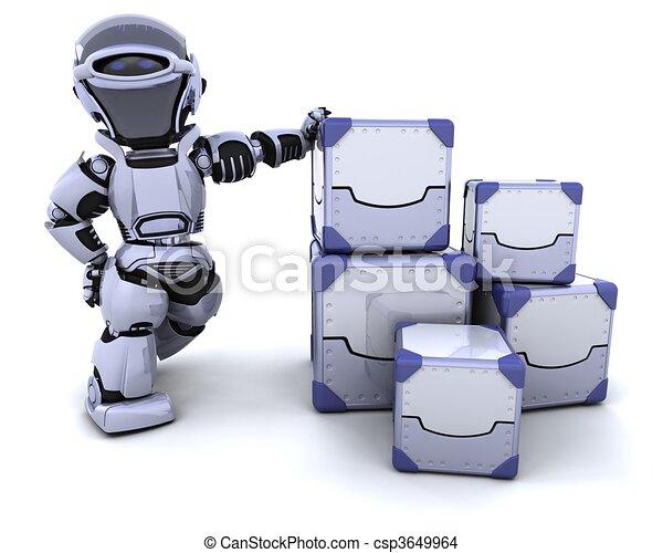 robot moving shipping boxes - csp3649964