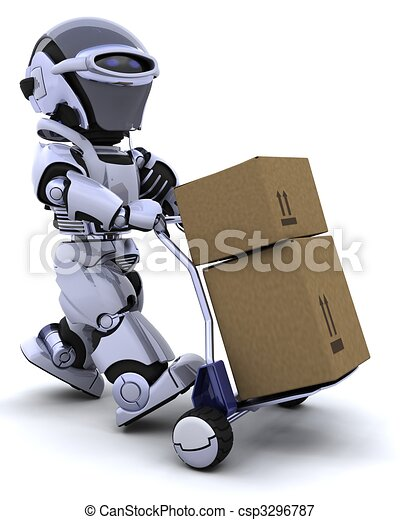 robot moving shipping boxes - csp3296787