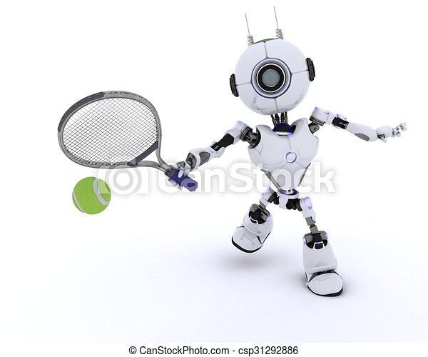 Robot playing tennis - csp31292886
