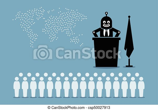 Robot president and artificial intelligent government controlling the country and world from human. - csp50027913