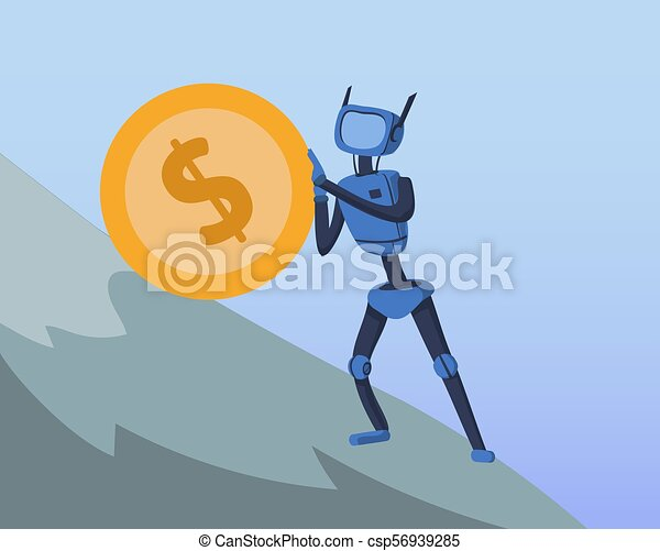 Robot pushing big dollar coin up the steep hill. Business and AI. Artificial intelligence and finance. Cyborg Sisyphean labour. Concept vector illustration, flat style. - csp56939285