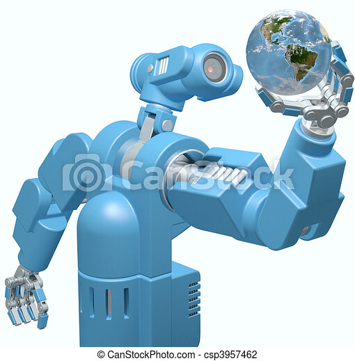 Robot science technology hand holds Earth globe - csp3957462