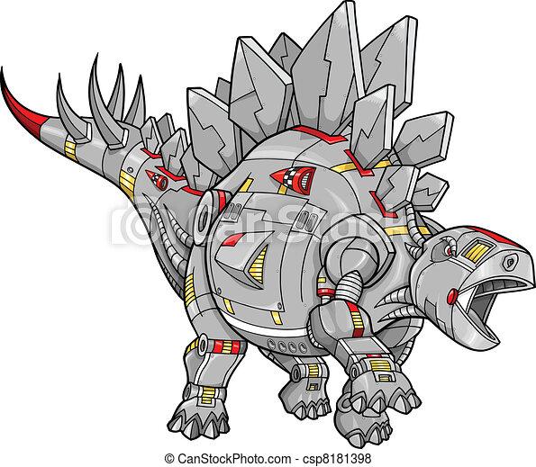 Robot Stegosaurus Dinosaur Vector  - csp8181398