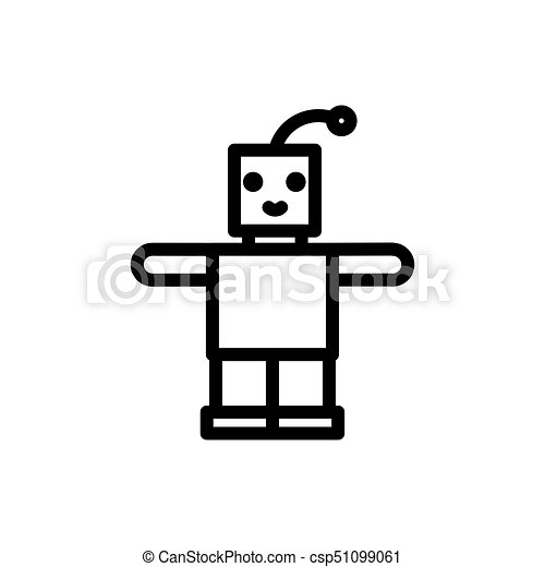 Robot Thin Line Icon Outline Symbol Newborn Baby Toy For Clip