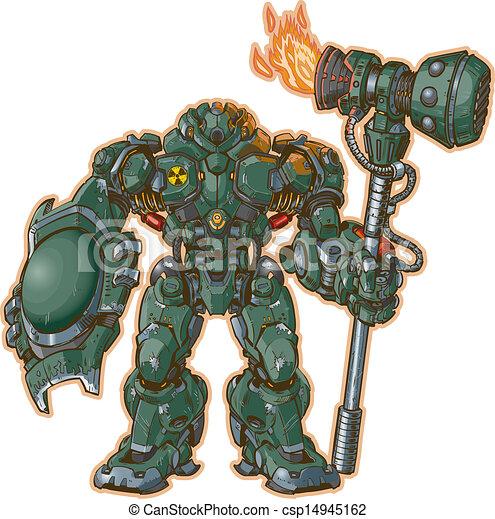 Robot Warrior W/ Shield And Hammer - csp14945162