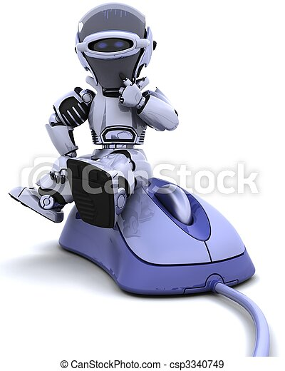 robot with a computer mouse - csp3340749