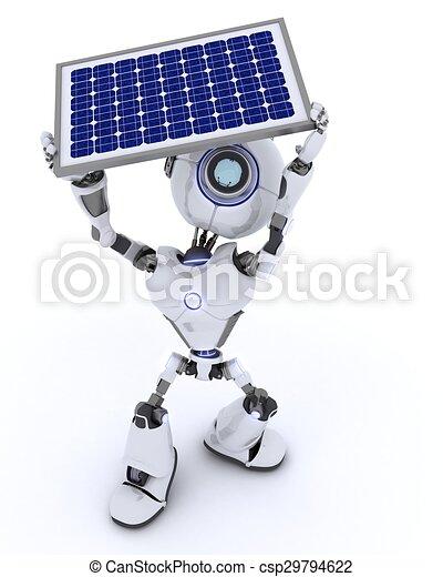 Robot with a solar panel - csp29794622