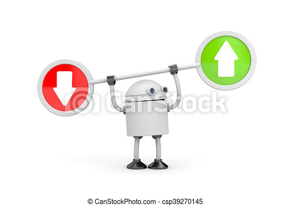 Robot with arrows. 3d illustration - csp39270145
