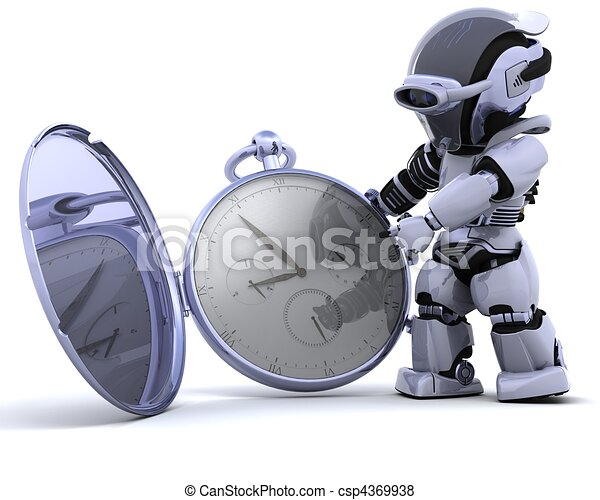 robot with classic pocket watch - csp4369938