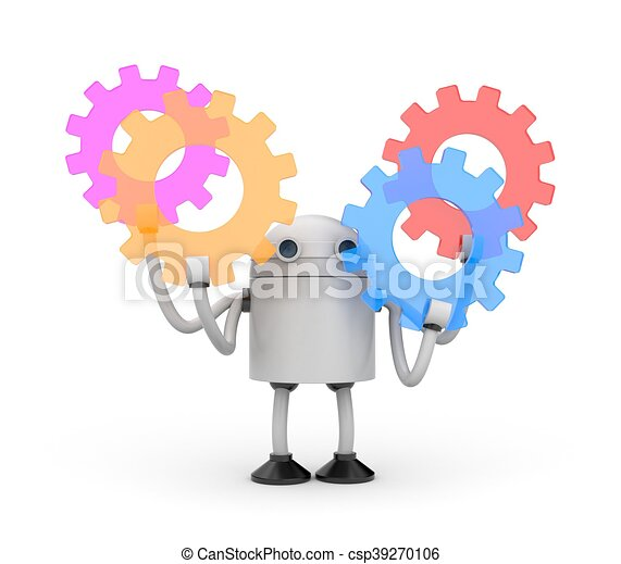 Robot with colorful gears. 3d illustration - csp39270106