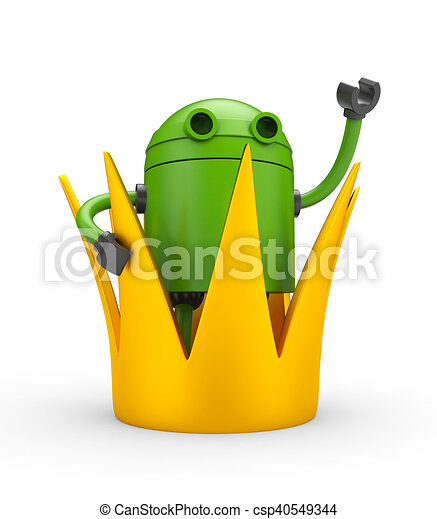 Robot with crown - king. 3d illustration - csp40549344