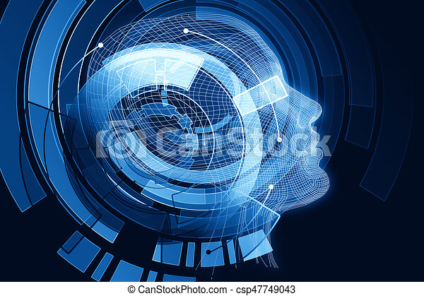 Robot With Digital Blue Brain Human Robot With Digital Blue Brain