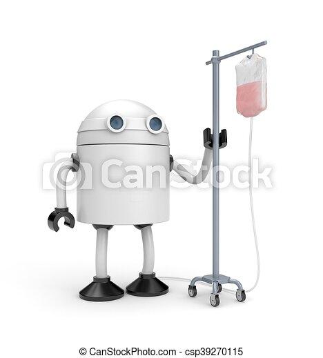 Robot with dropper. 3d illustration - csp39270115