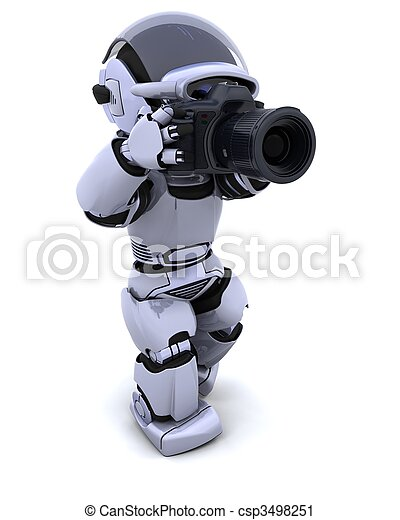 robot with DSLR Camera - csp3498251