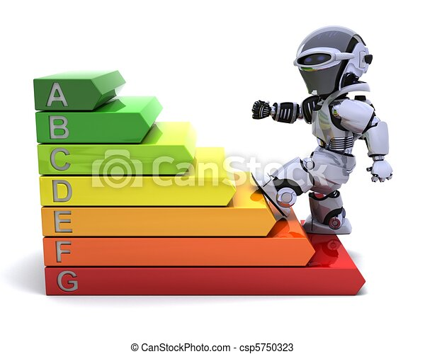 Robot with energy ratings sign - csp5750323
