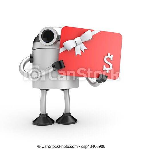 Robot with gift card. 3d illustration - csp43406908