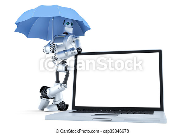 Robot with laptop under umbrella. Digital protection concept. Isolated. Contains clipping path - csp33346678