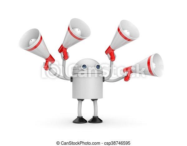 Robot with megaphones. 3d illustration - csp38746595