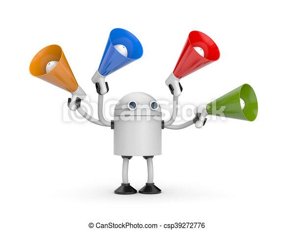Robot with megaphones. 3d illustration - csp39272776