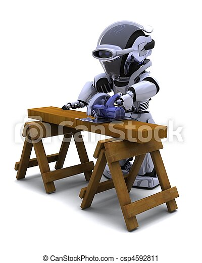 robot with power saw cutting wood - csp4592811
