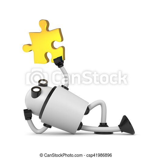 Robot with puzzle. 3d illustration - csp41986896