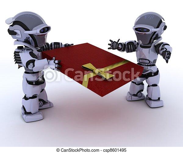 robot with romantic gift - csp8601495