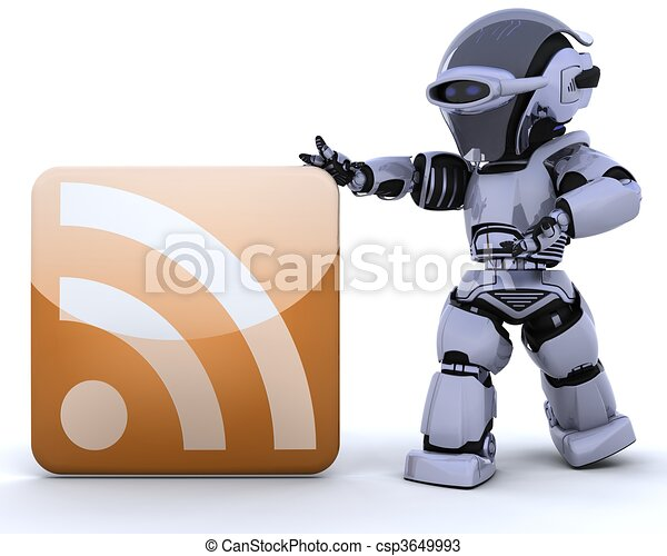 robot with RSS icon - csp3649993