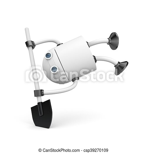 Robot with shovel. 3d illustration - csp39270109