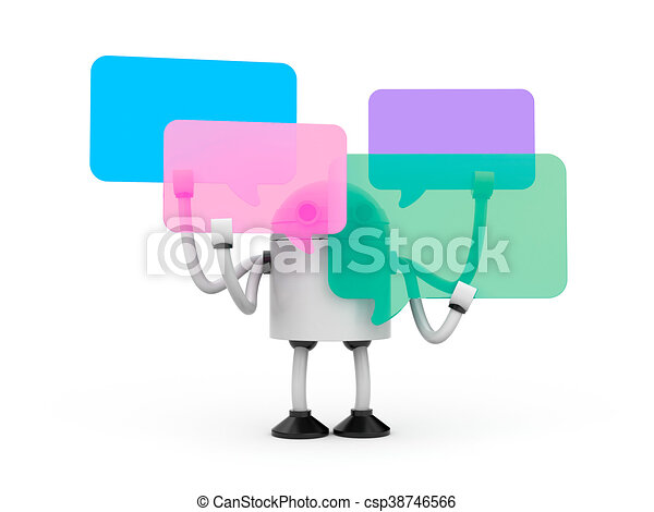 Robot with speech bubbles. 3d illustration - csp38746566